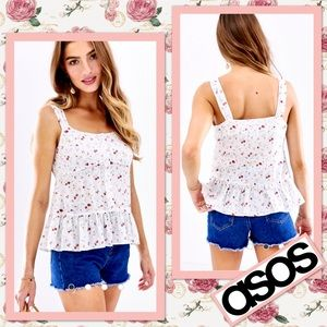 ASOS Cami with Peplum in White Floral Print